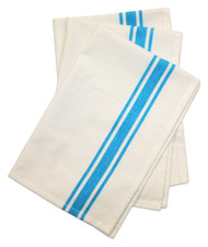 Aunt Martha's Stitch 'Em Up Retro Bold Twill Turquoise Stripe Towels