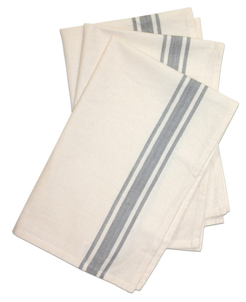 Aunt Martha's Stitch 'Em Up Retro Bold Twill Gray Stripe Towels