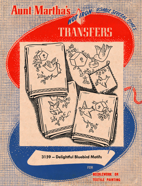 Aunt Martha's Embroidery Transfer Pattern #3159 Delightful Bluebird Motifs