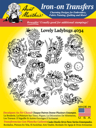 Aunt Martha's Embroidery Transfer Pattern #4034 Lovely Ladybugs