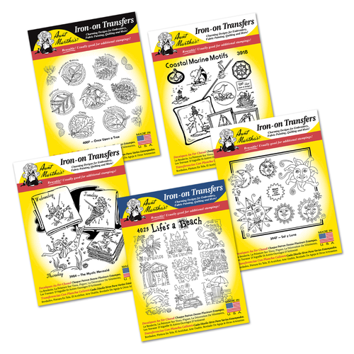 Aunt Martha's Summer Collection Embroidery Transfer Patterns