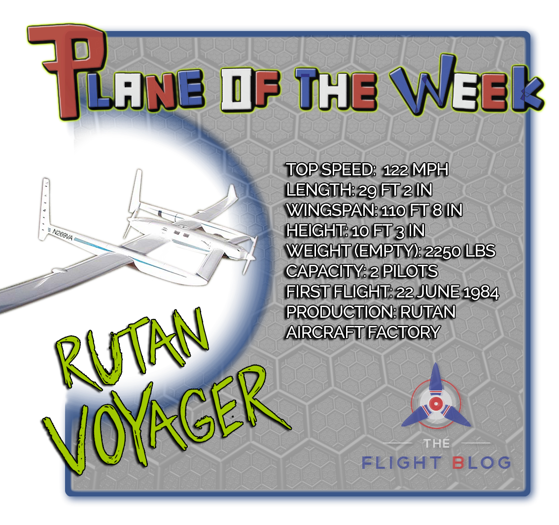 rutan voyager, the flight blog, plane of the week, aviation oil outlet, plane specs