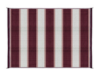 Camco Outdoor Mat, 6' x 9', Burgundy Stripe, w/UV