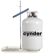 Cynder 20 lb Double Bottle Rack Propane Tank Cylinder Kit w/ White Tray