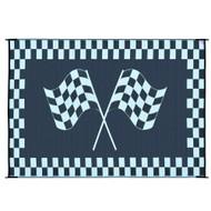 Reversible Black White Racing Flag RV Outdoor Patio Mat/Rug/Carpet  6 x 9