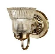 Antique Brass Sidewall Light w/ Crystal Shade