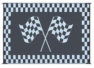 Reversible Outdoor Patio Mat/Rug/Carpet, Black White Racing Flag, 8 x 20