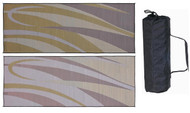 Reversible Outdoor Patio Mat/Rug/Carpet, Brown Gold, 8 x 20