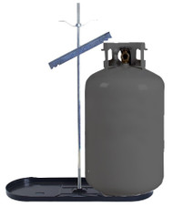 Double Bottle Rack 30lb Propane Tank Cylinder Kit w/ Black Tray