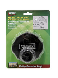 "Valterra Waste Valve Cap, 3"", 3/4"" GHT with Cap, Black, Carded"