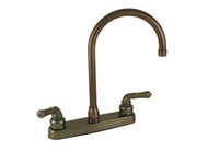 "Empire Brass 8"" Kitchen Faucet Teapot Handles w/ Gooseneck Spout, Brass"