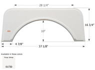 Fender Skirt, Single, Kit, FS1730, Polar White