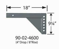 """Equal-i-zer Weight Distribution Hitch Shank - 8"""" rise/ 4"""" drop x 18"""" Length"""