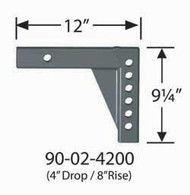 """Equal-i-zer Weight Distribution Hitch Shank - 8"""" rise/ 4"""" drop x 12"""" Length"""