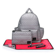 CiPU B-Bag 2.0 ECO Backpack Diaper Bag 6 Piece Combo Set (Grey & White Polka Dots)