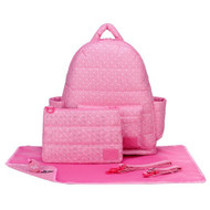 CiPU B-Bag 2.0 ECO Backpack Diaper Bag 6 Piece Combo Set (Pink Polka Dots)