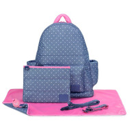 CiPU B-Bag 2.0 ECO Backpack Diaper Bag 6 Piece Combo Set (Lalaya Polka Dots)