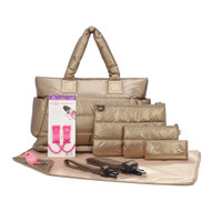 CiPU CT-Bag 2.0 ECO Diaper Bag Tote 9 Piece Combo Set (Exclusive Gold)