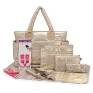 CiPU CT-Bag 2.0 ECO Diaper Bag Tote 9 Piece Combo Set (Lace Gold)
