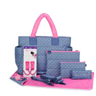 CiPU CT-Bag 2.0 ECO Diaper Bag Tote 9 Piece Combo Set (Lalaya Polka Dots)