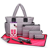 CiPU CT-Bag 2.0 ECO Diaper Bag Tote 9 Piece Combo Set (Grey & White Polka Dots)
