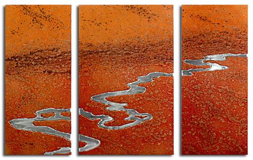 """""""Moon River"""" triptych, Desert color, by Robert Rickard.  32x52, Unique aluminum wall art."""