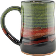 This Large Tankard shown in Moonscape glaze by Always Azul is completely functional : dishwasher, microwave and food safe.  Always Azul mugs can be ordered in several glaze colors and decal options.  Please call to check availability of current glaze colors, designer decals and Wrap Scenes.