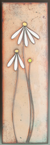 """Just a Daisy"" by Jenn Bell 4x12"" glass on copper tile"