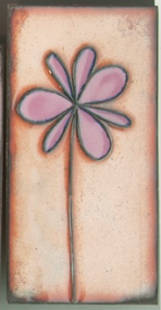 """Petite Pansy"" in Purple by Jenn Bell 3x6 glass on copper tile"