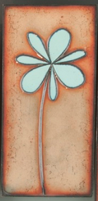 """Petite Pansy"" in Blue by Jenn Bell 3x6 glass on copper tile"