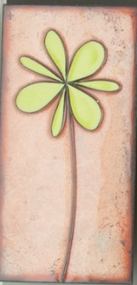 """Petite Pansy"" in Green by Jenn Bell 3x6 glass on copper tile"