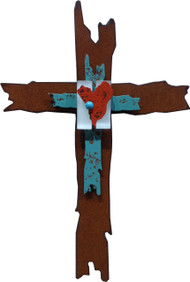 """Journey of Kindness"" Cross by Redford Metal, rusted steel and recycled materials wall decor. 12"" tall."
