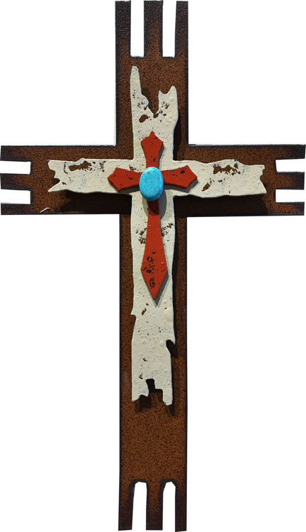 """Uplifting Gratitude"" Cross by Redford Metal, rusted steel and recycled materials wall decor. 9"" tall."
