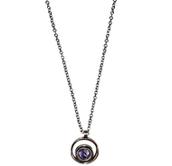 "Serenity Necklace in Tanzanite by Patricia Locke Jewelry based in Mundelein, IL. Sterling silver chain with a Swarovski crystal set in sterling silver. 0.875"" x  1.125"" pendant on 17"" chain."