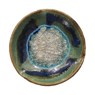 """Small Pinch Plate in Green by Kerry Brooks Pottery.  Small Pinch Plate with Geode Style Fused Glass in Green. These awesome glass plates are decorative and functional. The perfect holiday, wedding, graduation, or hostess gift!   Each small plate is 7.5"""" in diameter and 1.5"""" deep. Some variation in color is due to the handmade nature of these items. (Does not contain actual geodes.)"""