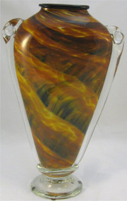 """Shoulder Vase in Amber, Black and Gold"" by Mark Rosenbaum"