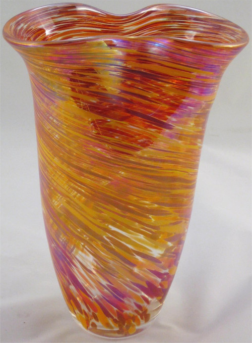 """Rowena Vase in Hot Mix"" by Mark Rosenbaum, Rosetree Glass"