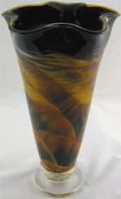 """""""Fluted Vase in Amber Landscape"""" by Mark Rosenbaum, Rosetree Glass"""