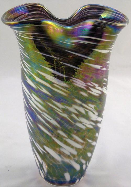 """Rowena Vase in Mardi Gras"" by Mark Rosenbaum, Rosetree Glass"