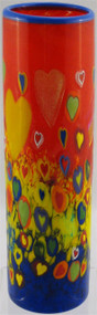 """Skinny Cylinder Vase in Transparent Love"" by Michael Maddy & Rina Fehrensen, Mad Art Studio"