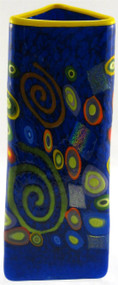 """LargeTriangle Vase in Blue Spiral"" by Michael Maddy & Rina Fehrensen, Mad Art Studio"