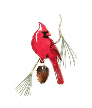 Cardinal Male on Pine by Bovano of Cheshire Metal