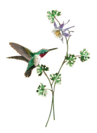 Broad Tail Hummingbird with Columbine by Bovano of Cheshire Metal