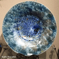 This Ruffle Bowl is handmade by Bill Campbell based in Cambridge Springs, PA. The Stellar glaze varies greatly and we try to update photos regularly.  Please call to confirm we have the pictured bowl on-hand.