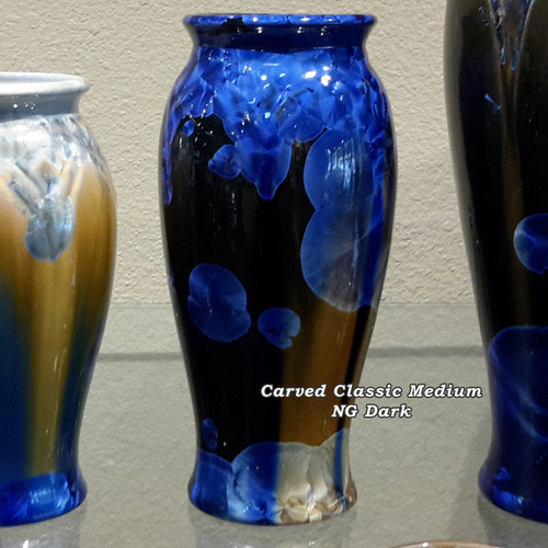 """This Medium Carved Classic Vase is handmade by Bill Campbell based in Cambridge Springs, PA. The vase is approximately 9"""" and is shown in New Glaze, Dark & Light options. All of his porcelain is functional."""