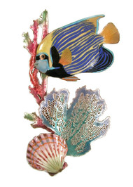 """Emperor Angelfish, Branching Coral, Scallop9""""w x 14""""h  The sculpture is hand made using vitreous enamel (powdered glass) layered over solid copper and then kiln fired to fuse the glass to the metal."""