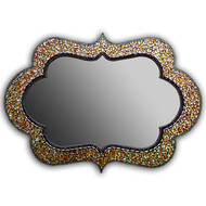 """Cora Mosaic Mirror from Angie Heinrich of Zetamari Mosaics are steeped in the rhythm & symmetry of Greek & Moroccan art and architecture. This is medium sized mirror 24"""" x 43"""" in golden tones with a hint of opalescent shimmer.  The more direct lighting the more it shimmers."""