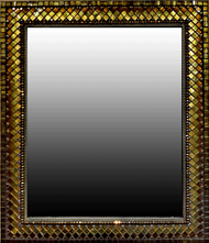 """Large Rectangular Mosaic Mirror in Bronze Silk from Angie Heinrich of Zetamari Mosaics, 24""""x28"""" Rich silky bronze, gold, olive, and toffee glass tile and beads come together to create a shimmery jewel for your wall. It is neutral in color but your eye will be drawn to the rich play of color and light."""