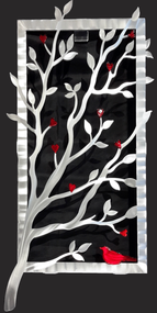 """Window View - Red, 15""""x30"""" by Sondra Gerber. Hand brush aluminum wall Sculpture with glass inclusions.  The use of positive and negative shapes within the intricate cut of the designs cast alluring shadows that interact with the piece itself."""