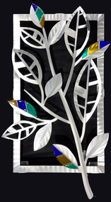 """Striped Leaves - Spring  Hand brush aluminum wall Sculpture with glass inclusions by Sondra Gerber. 16""""x29"""""""
